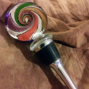 Rainbow Swirl Glass Wine Stopper Hand Made Vintage